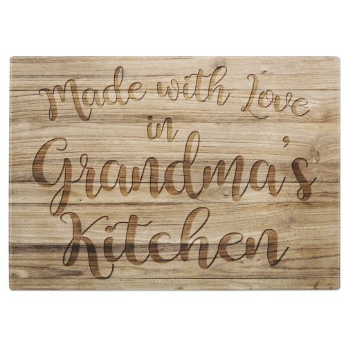 Made With Love In (Relation) Kitchen Wooden Effect Tempered Glass Chopping Board